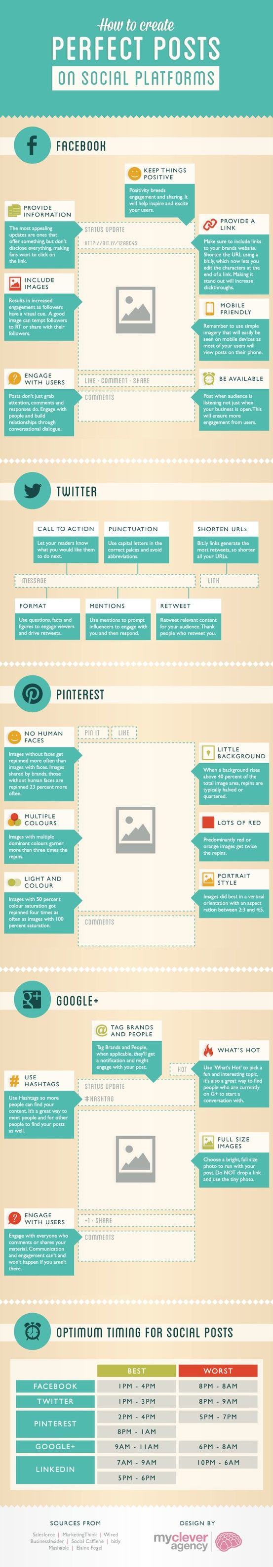 How To Create The Perfect Pinterest, Google+, Facebook & Twitter Posts - mycleveragency have collated a lot of the information and cut through all the jargon and here is a basic guide to what they think makes the 'perfect post' social media post.