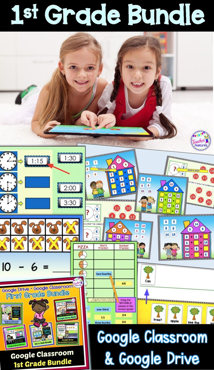 This 1st grade common core-aligned resource is 100% online and includes Google Slides/Google Drive activities to teach fractions, fact families, telling time, base ten, number bonds and sentence building. An interactive and engaging way to practice math and literacy skills in your classroom.