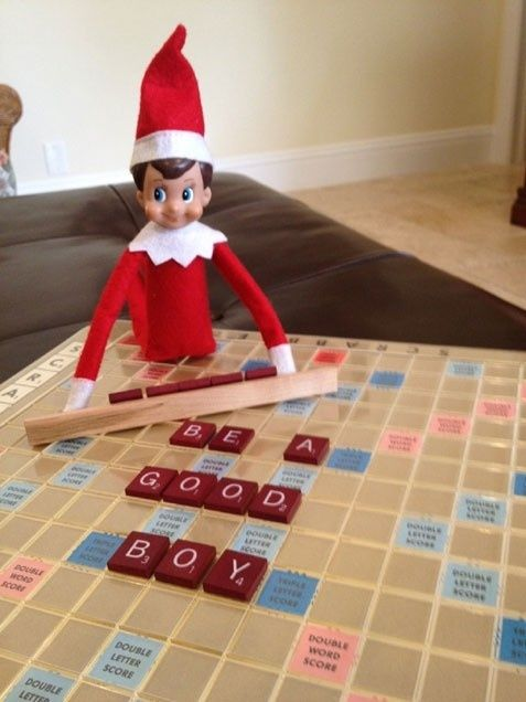 elf on a shelf message with a scrabble board