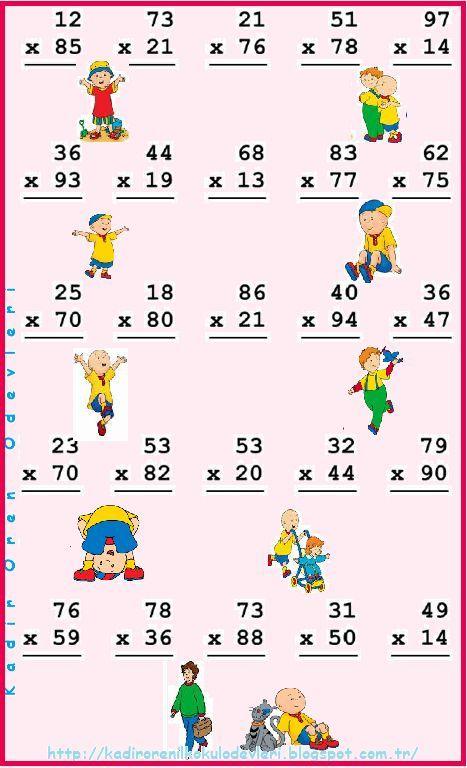 ilkokul ödevleri: 3. sınıf 2 basamaklı sayılarla çarpma: