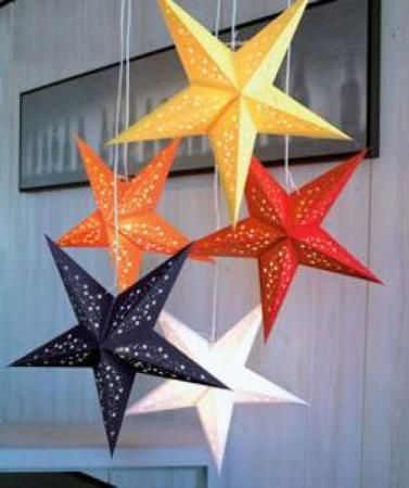 lampras estrella lamparas de estrella de papel reciclado papel de coleres reciclad pegado y tintado