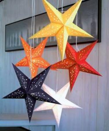 Lampras estrella lamparas de estrella de papel reciclado - Manualidades de estrellas de navidad ...