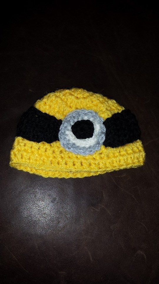 """Does your kid love the movie 'Despicable Me'?  Then they will love this Minion beanie!NB-3 mnths. 5.0 mm hook, """"I Love This Yarn"""" $25"""