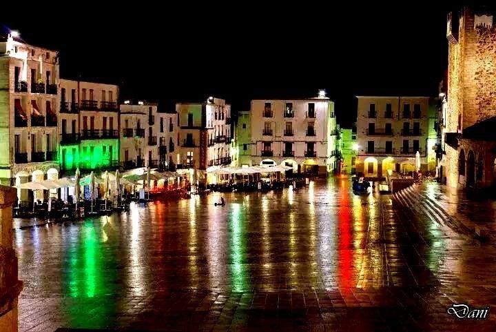 Preciosa imagen de la Plaza de Cáceres en una noche húmeda.