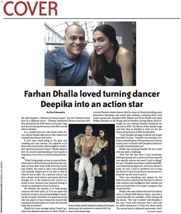 "Shruti Ganapathy on Twitter: ""My latest piece on @farhandhalla and his experience training @deepikapadukone for XXX: Return of the Xander Cage https://t.co/QIRm6lyWMD"""