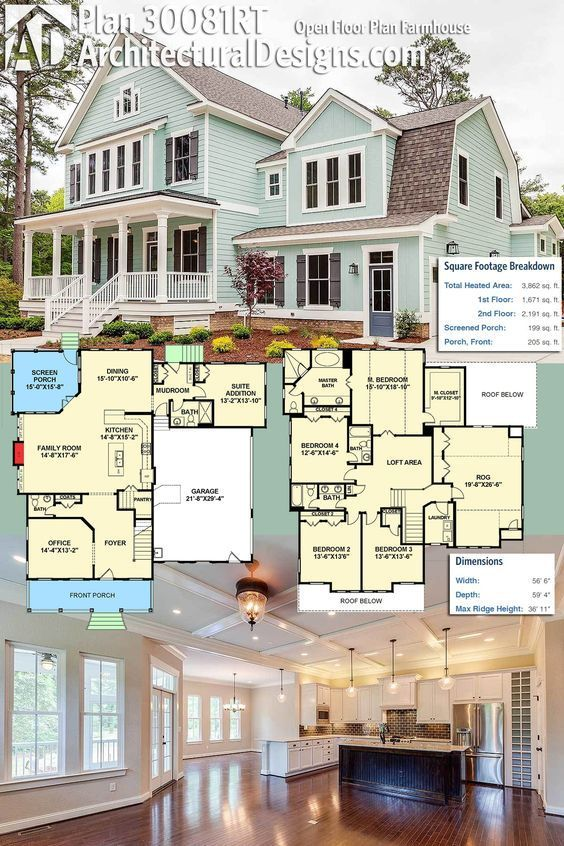 Love this!! Architectura Designs Farmhouse Plan 30081RT gives you over 3,600 square feet of heated living space and an open floor plan on the main floor. The room over the garage makes a great play or media room! Ready when you are. Where do YOU want to b