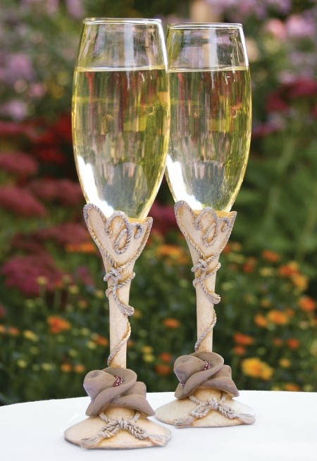 country wedding champagne flutes