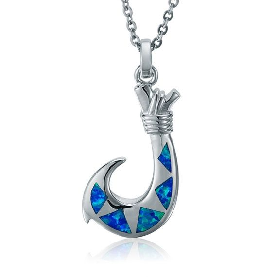 17 best opal sterling silver necklaces images on pinterest for Silver fish hook necklace