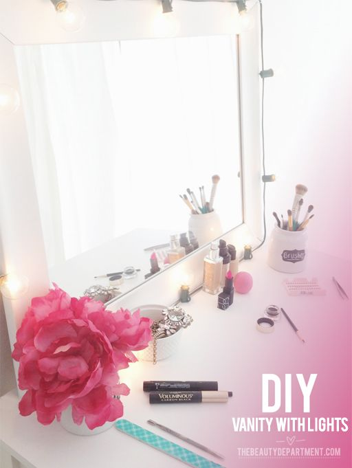 DIY TIME! We built our own vanity with lights using a few things we found at Target.