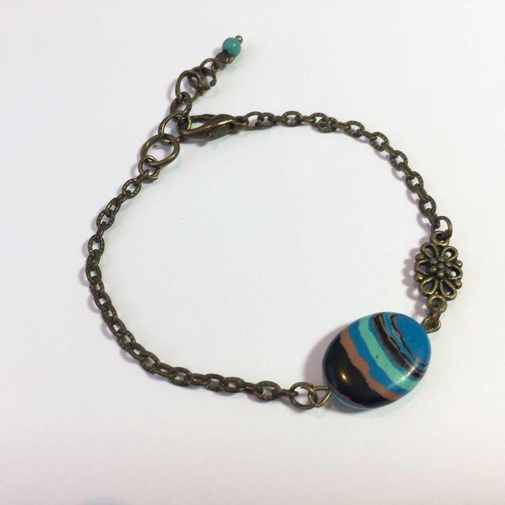Bracelet en bronze antique chainette et pierre minérale turquoise rayée