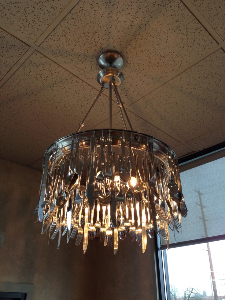 Awesome Cutlery Chandelier At A Diner In Wa