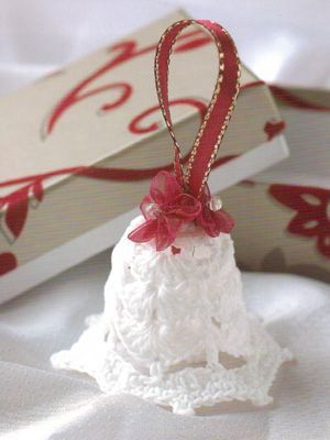 free pattern of a crocheted Christmas bell | ... patterns, Mini Christmas Crochet, Christmas Bell, from Laughing Hens