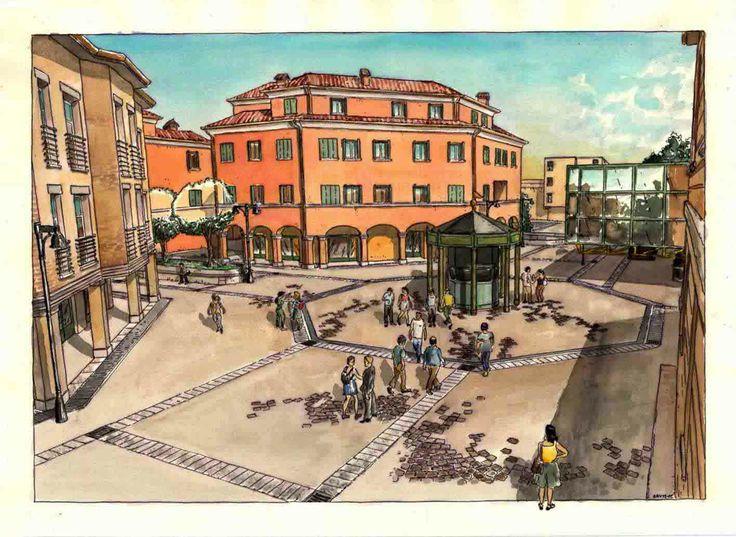 Acquarello. Anzola nell'Emilia, sistemazione zona municipio.