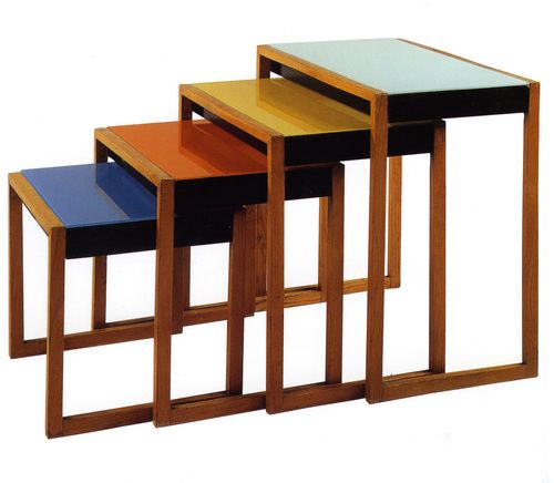 Josef Albers (American, b. Germany, 1888-1976). Set of stacking tables, ca. 1927. Ash veneer, black lacquer, and painted glass. Ranging from 15 5/8 x 16 1/2 x 15 3/4 in. (39.2 x 41.9 x 40 cm)  to 24 5/8 x 23 5/8 x 15 7/8 in. (62.6 x 60.1 x 40.3 cm).