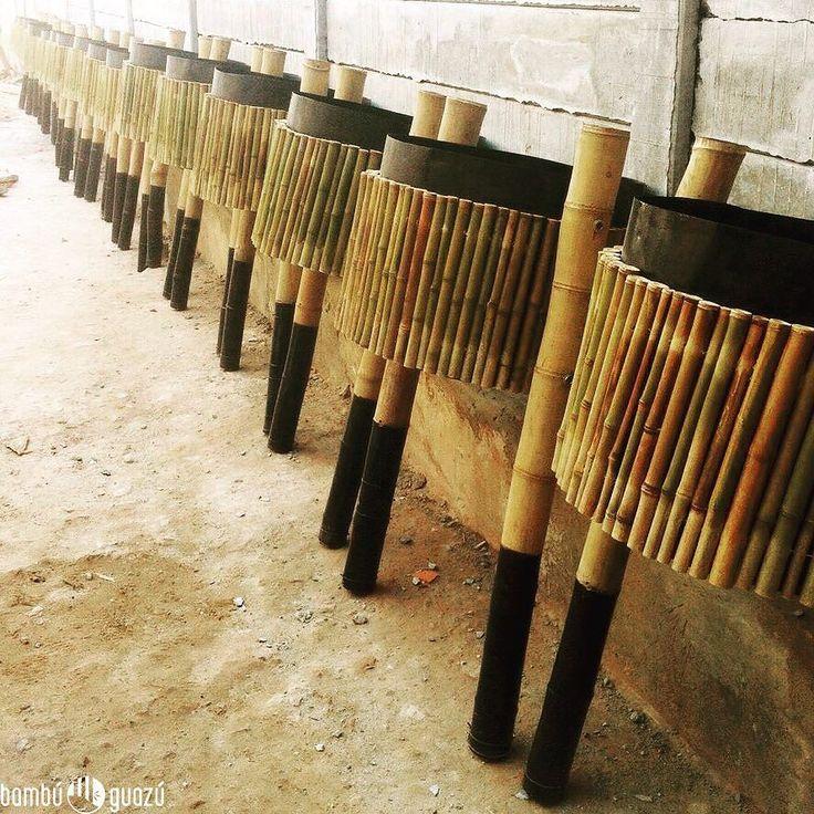 En producción en #bambuguazu Éstos son tachos de bambú para paseos públicos #public #bamboo #trash #can @agus.skott #design #vicentelopez #springtime