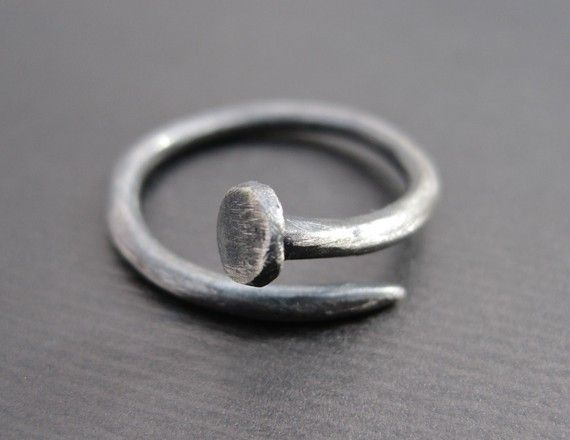 Nail Ring  Hand-Forged Sterling Silver Industrial Ring
