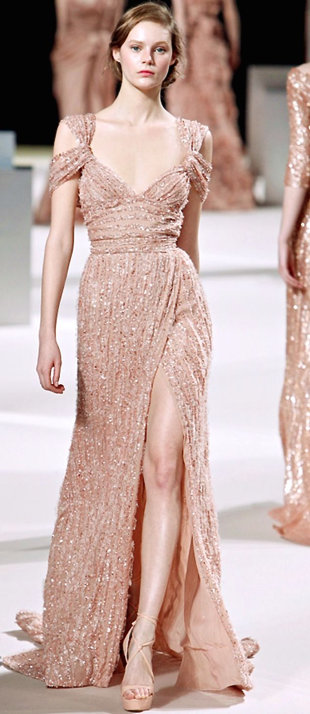 This nude embellished gown is really gorgeous. I love the sleeves