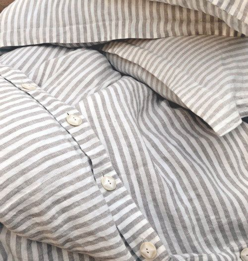 Pinstriped Linen Duvet Cover Gray And White Stripes