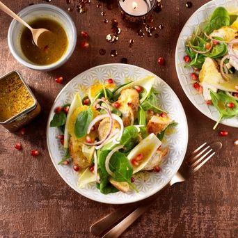 Kerstbrunch salade met kip en Vadouvandressing