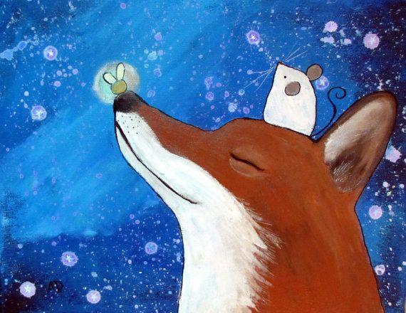 Fox kwekerij Art Print, Starry Night Sky Artwork voor kinderen, Baby kamer Decor, Kids kunst aan de muur, 8 x 10 Art Print, Storybook stijl, vuurvliegjes