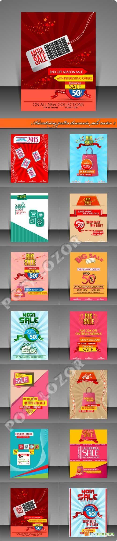 Design large banner in illustrator - Advertising Poster Discounts Sale Vector 3