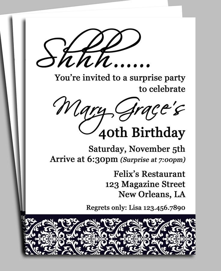 Invitation For Surprise Birthday Party Wording 40 Bday Party