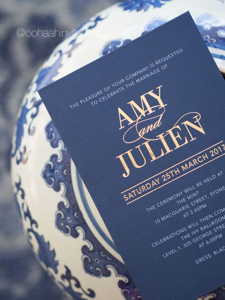 AMY & JULIAN, Our beautiful navy blue 400gsm card stock with gold foil printing - we love !!!