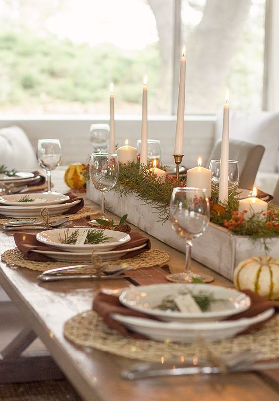 Fall thanksgiving tablesetting centerpiece rustic