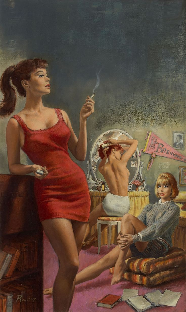 Paul Rader cover art for Girls Dormitory, 1963 Heritage