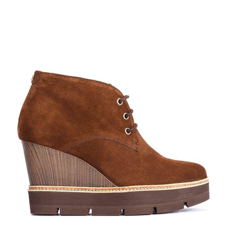 #zapatos #botín #cuña de la nueva colección #AW de #pedromiralles en color #marrón #shoponline