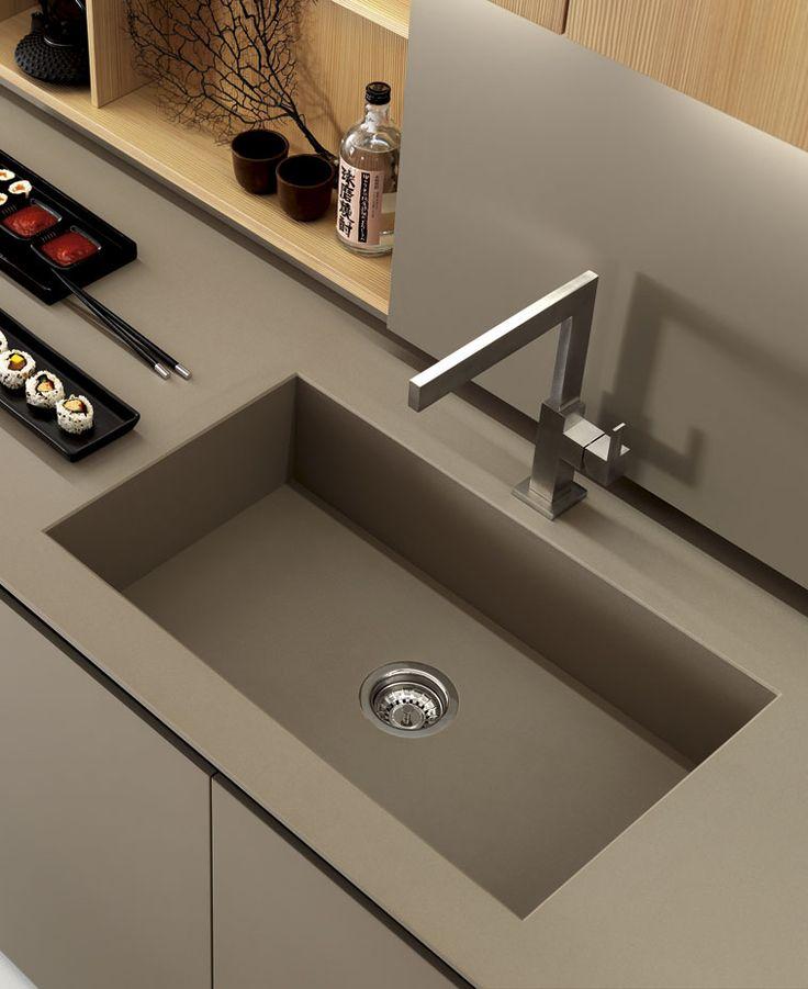Zampieri - #Axis 012 kitchen. A detail of titan quartz slim top.