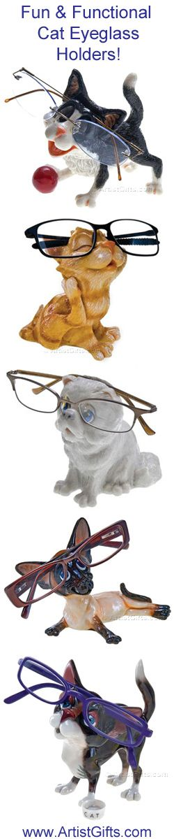 Check out our new Cat Eyeglass Holders $34.95 They keep glasses handy and are a great gift for cat lovers and kids who wear glasses! Free Shipping Everyday - Shop now at http://www.artistgifts.com/eyeglass-holders-detail/cat-eyeglass-holders.html