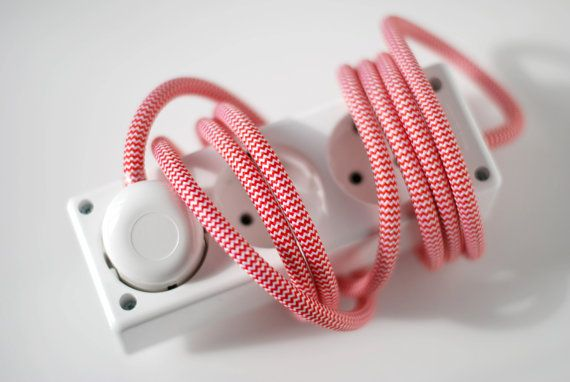 Extension cord with 3 meter red and white textilcable by tilka
