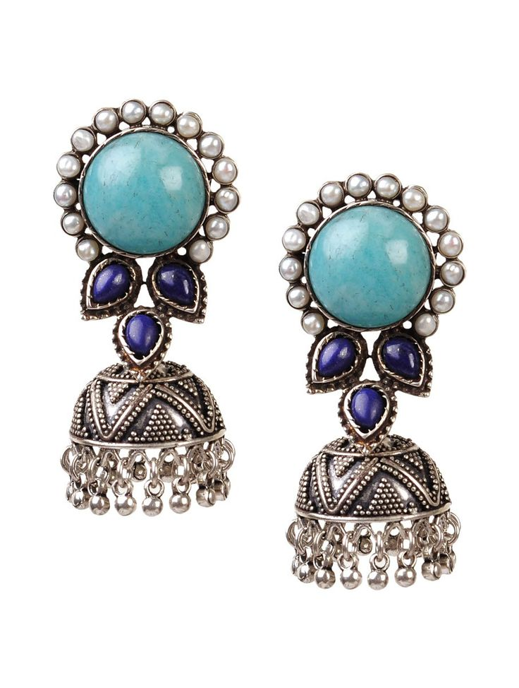 Buy Silver Turquoise Bold Sterling Earrings 92.5% Semi Precious Stone Pearls Jewelry Luminosity Ombre Dyed Chanderi Dupattas and Encrusted Online at Jaypore.com