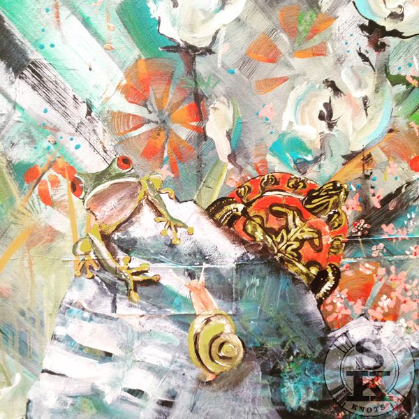 occupy - acrylic painting in progress - mrs frog Snail and Mr turtle