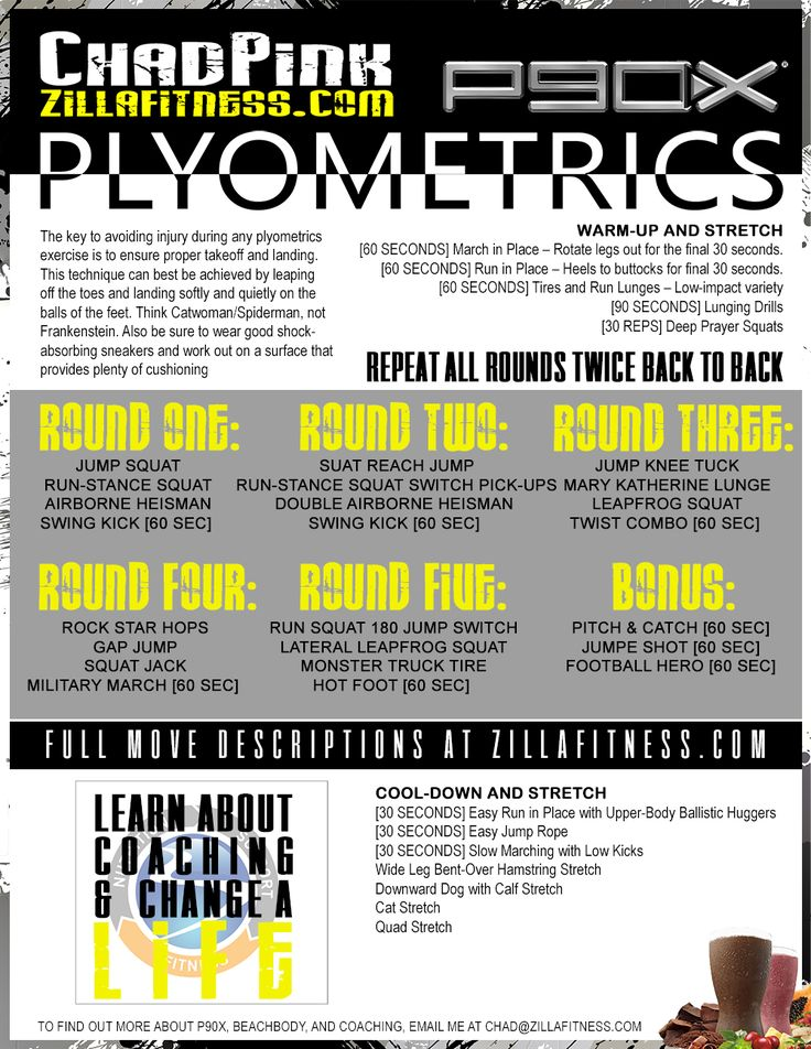 P90X Plyometrics List - Bring P90X Plyometrics with you anywhere.  No need to stream or use DVD!  Click on image for full-size PDF.  Free download.  No forms.  #p90x #plyometrics