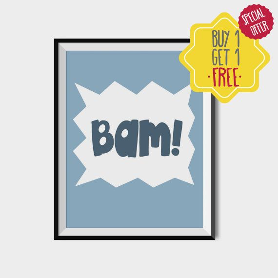 Kids Bam printable, Kids wall art, Blue kids prints, Blue room Decor, Gift for boys, Boys prints, Bam quote,Kids blue art,PRINTABLE ART KIDS.   This listing is for an INSTANT DOWNLOAD of 2 PDF files of this artwork. Just purchase the listing and your print is ready to download instantly. Why not print one for a friend, or just for fun?  Once you purchase the poster you will receive the following files:  - 1 PDF high resolution (300 dpi) file with trim marks 8x10 inches. - 1 PDF high…
