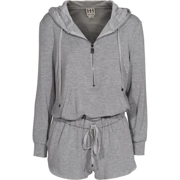 HAUTE HIPPIE Jump Jersey Heather Grey Onepiece with hood ($190) ❤ liked on Polyvore featuring jumpsuits, rompers, playsuits, dresses, one piece, pajamas, haute hippie romper, haute hippie, hooded romper en jump suit