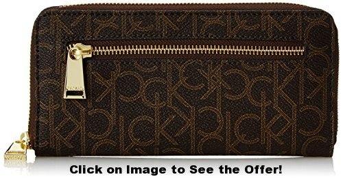 Calvin Klein 1 YR Logo Wallet, Brown/Khaki, One Size