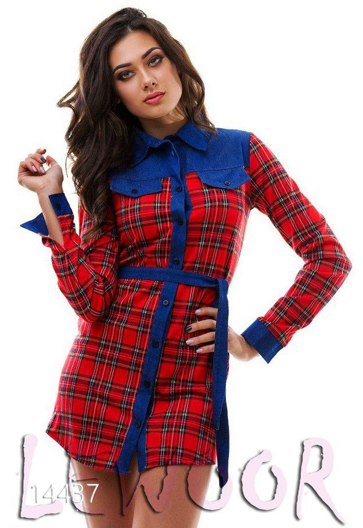 Клетчатое платье -рубашка из трикотажа - купить оптом и в розницу, интернет-магазин женской одежды lewoor.com