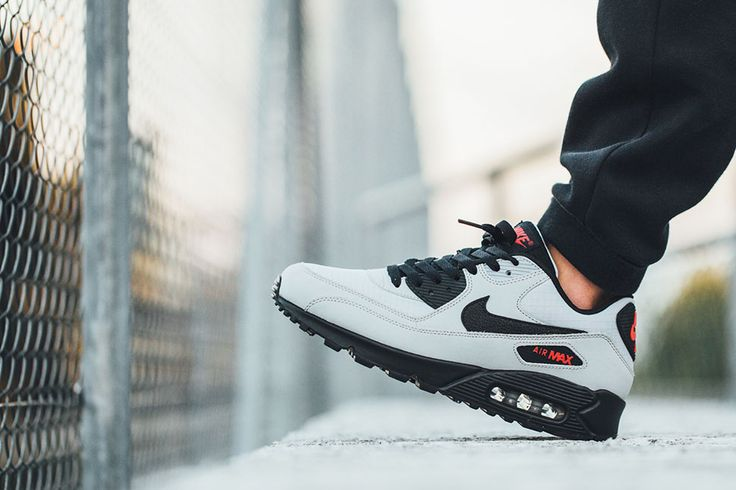 "Nike Air Max 90 Essential ""Grey, Black & Red"" - EU Kicks: Sneaker Magazine"
