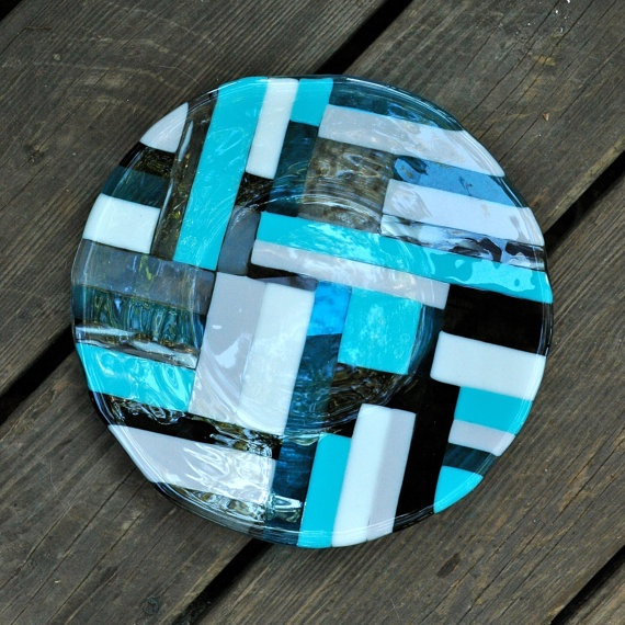 Fused Glass Dinner Plate: Blue, Turquoise, Gray, White, and Black Geometric Pattern on top of Light Scalloped Pattern on Etsy, $35.00