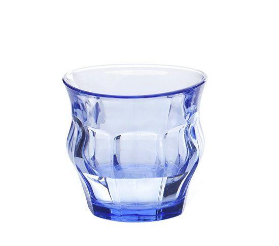 Verre DURALEX© _ Design Loris&Livia _ Variation de verres DURALEX© 250 ml _ Couleur : Bleu _ Déformation aléatoire _ Dimensions aléatoires aux alentours de : H8 cm x D9 cm _