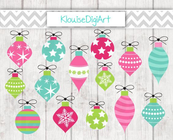 Christmas Bauble Decorations in Pink and Green by KlouiseDigiArt
