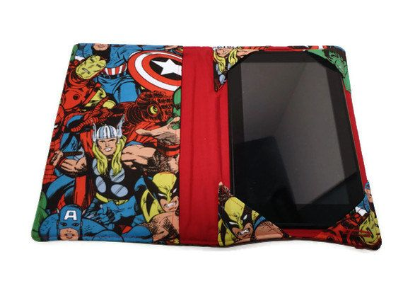 Sale 10% off, Kindle Cover Marvel fabric, Nook Cover, Kindle Case, Kindle Fire HD 7, Nexus 7, iPad mini. $32.40, via Etsy.