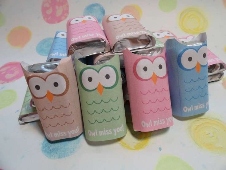 "These are my ""Owl Miss You"" mini hershey bar covers for Maggie's graduation party goodie bags"