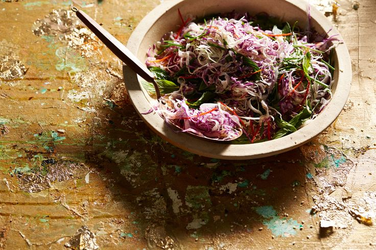 Cabbage salad with chilli, mint and sesame seeds