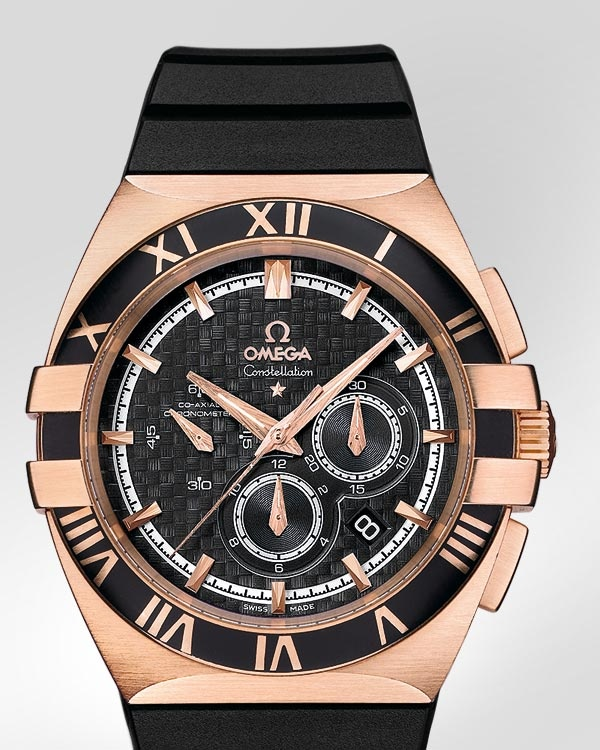 OMEGA Watches: Constellation Double Eagle Chrono - Red gold on rubber strap - 121.62.41.50.01.001: Co Axi Chronograph, Watches Chronograph, Eagles Chrono, Double Eagles, Omega Watches, Eagles Co Axi, Red Gold, Omega Constellations, Constellations Double