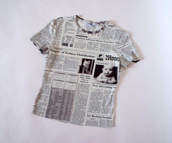 pinterest: @pooh_bossy365 | VINTAGE PANDORA, shop vintage newspaper print shirt Made in Italy