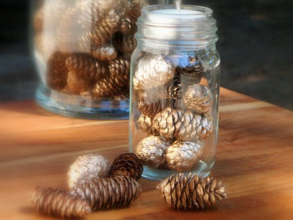Tealight Candle Wedding Table Centerpiece Decor or Guest Favors - A Jar of Pine Cones